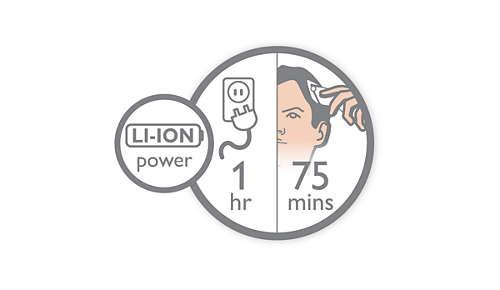 Tot 75 minuten draadloos gebruik na 1 uur snel opladen.