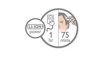 Até 75 min. de autonomia sem fios após carregamento rápido de 1 hora.