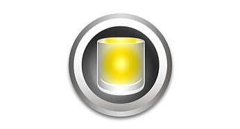 Měkký, teplý světelný efekt svíčky sjemným blikáním