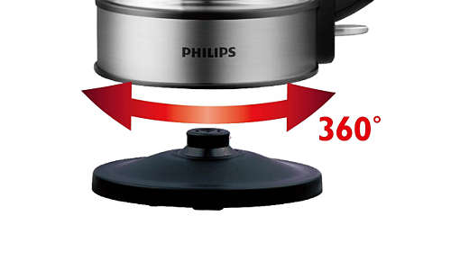 Snoerloze draaivoet van 360° voor eenvoudig optillen en plaatsen.