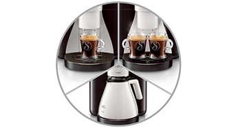 Selecteer één kopje, twee kopjes of een volle kan koffie