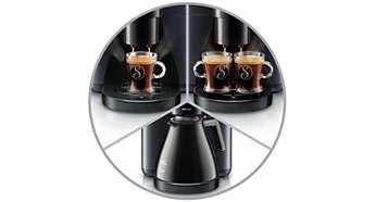 Sélectionnez une tasse, deux tasses, ou une verseuse de café