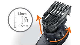 14 helppoa lukittavaa pituusasetusta, 0–15mm
