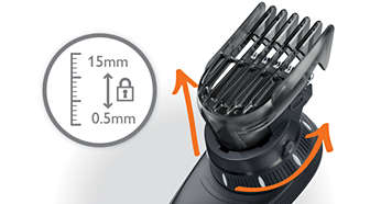 14 easy lock-in length settings from 0 to 15 mm.