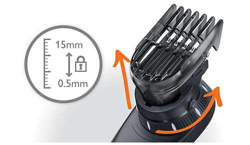 14 lunghezze di taglio semplici con blocco da 0 a 15 mm.