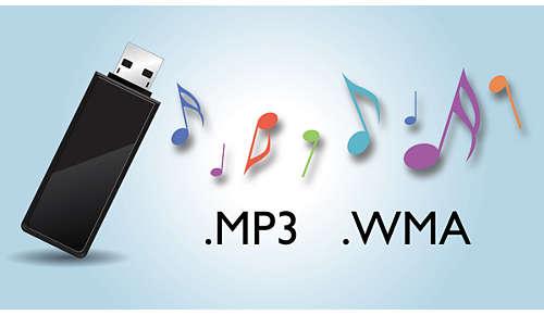 Geniet direct van MP3/WMA-muziek op uw draagbare USB-apparaten