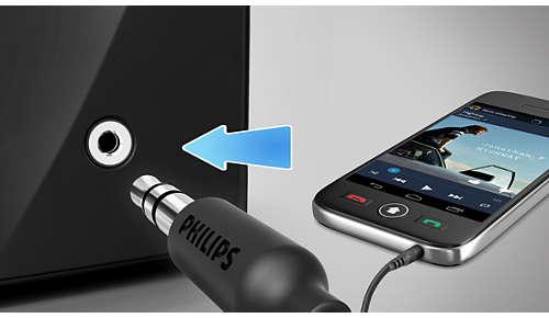 Audio-ingang voor gemakkelijke aansluiting op vrijwel elk elektronisch apparaat