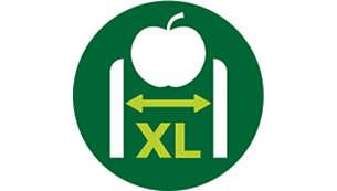 Tack vare XL-inmatningsröret (75 mm) slipper du skära ingredienserna