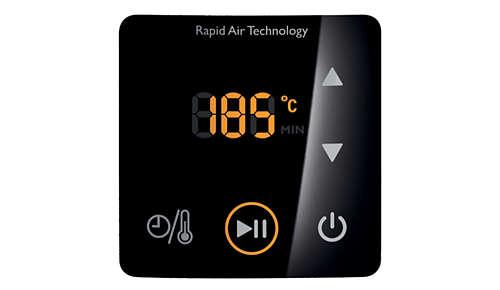 Digitaal scherm voor gemakkelijk instellen van tijd en temperatuur