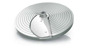 Disco fatiador ajustável para obter fatias finas ou grossas (1 a 7mm)