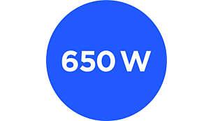 Motor potente de 650W com botões de liga/desliga e turbo