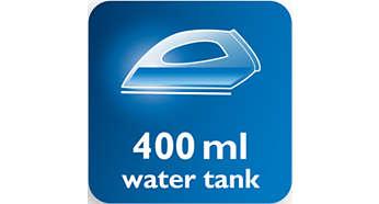 Erittäin suuri 400ml:n vesisäiliö vähentää täyttökertoja