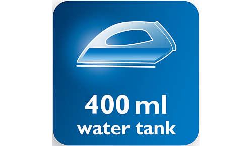 Ekstra stor 400 ml vandtank skal ikke påfyldes så ofte