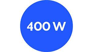 Motor potente de 400W com botão de liga/desliga e função turbo