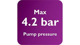 Max 4.2 bars pump pressure