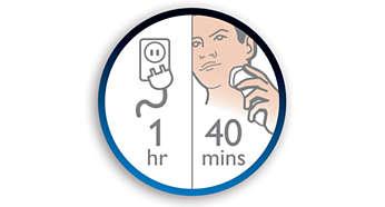 Akár 40 perc vezeték nélküli használat 1 óra töltés után