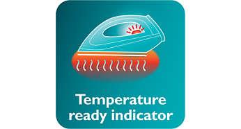 Lampu indikator suhu memberi tanda bahwa setrika sudah cukup panas