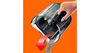 Den avanserte støvbeholderdesignen gir enkel tømming