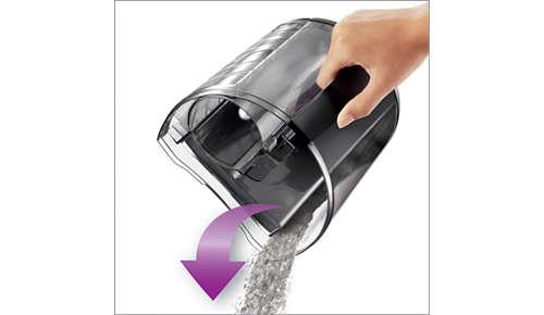 Compartiment à poussière spécialement conçu pour vider facilement la poussière