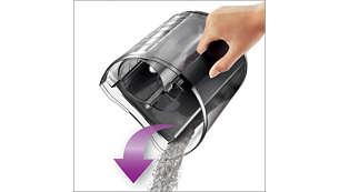 Bac à poussière spécialement conçu pour vider facilement la poussière