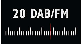 More channels enjoyed with 20 DAB and 20 FM preset stations