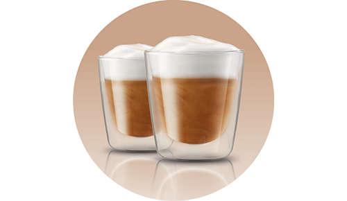 Genoeg melkschuim voor 2 cappuccino's