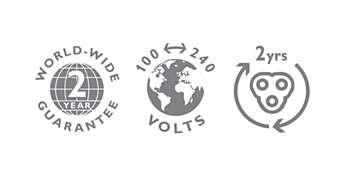 2 年保修,全球电压以及可更换刀片。