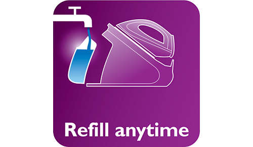 Afneembaar waterreservoir van 1,5 liter, max. twee uur strijken