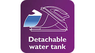 1.5 L detachable water tank, up to 2 hours of ironing