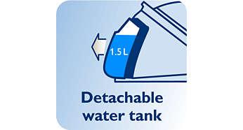 Réservoir 1,5l détachable, jusqu'à 2h d'autonomie
