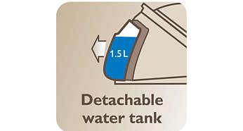 Rezervor de apă detaşabil de 1,5 l, pentru până la 2 ore de călcare