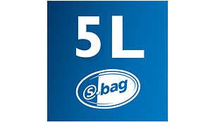 5 literes portartály-kapacitás a hosszabb takarítás érdekében