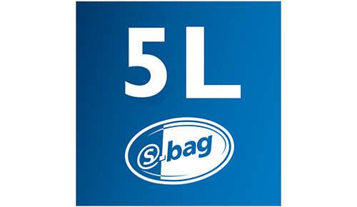 5 L støvkapacitet for lang tids rengøring