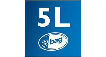 Capacitate sac de praf 5 l pentru o curăţare mai îndelungată