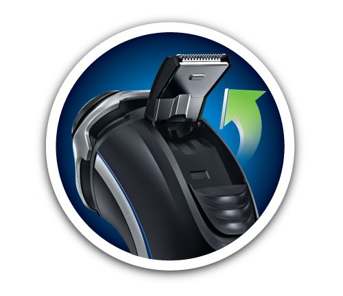 Pop-up trimmer for sideburns and more