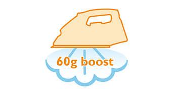 ระบบเพิ่มพลังไอน้ำสูงถึง 60 กรัมสำหรับรอยยับที่รีดยากมากๆ