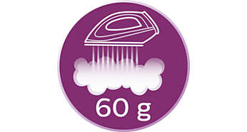 Vapor extra de até 60 g/min para tirar o amarrotado das roupas