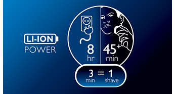 45+ shaving minutes, 8-hour charge