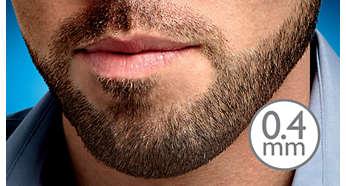 O ajuste para barba de 0,4 mm oferece uma barba com aparência de três dias