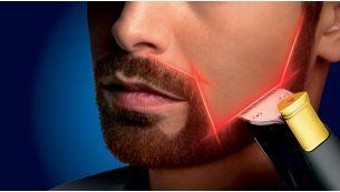 Use the unique laser guide for precise, symmetric results