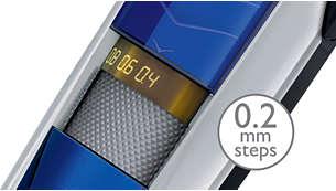 Hauteurs de coupe comprises entre 0,4mm et 10mm, avec un pas de 0,2mm