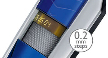 Trim fra 0,4 mm til 10 mm i trin så korte som 0,2 mm