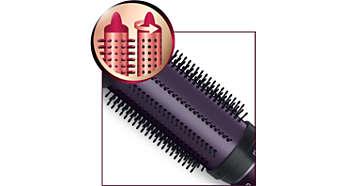Inntrekkbare børstehår som slipper håret raskt og enkelt