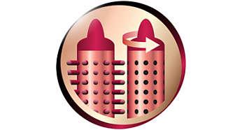 Втягивающиеся зубчики для быстрого и легкого извлечения щетки из волос