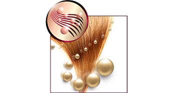 Ionisk pleie og turmalinbelegg for glansfullt hår