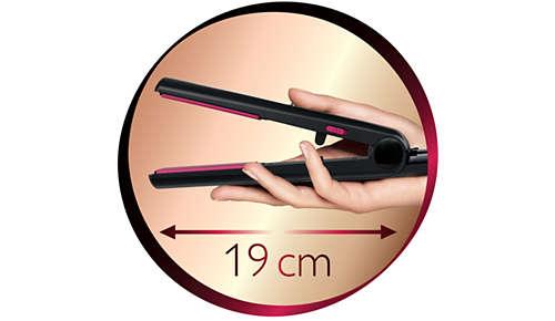 Piastra per capelli lunghi: 19 cm