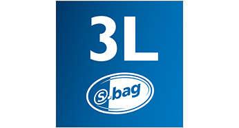 Χώρος συλλογής σκόνης 3 λίτρων και σακούλα s-bag για απόδοση μεγάλης διάρκειας