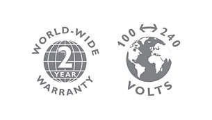 2-year guarantee, worldwide voltage and replaceable blades