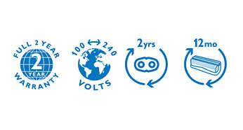 2 års garanti, spænding i hele verden og udskiftelige skær