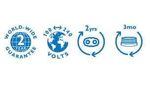 2년 무상 A/S, 세계 범용 전압, 면도날 교체 가능